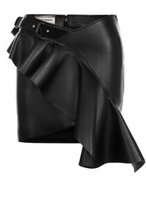 Кожаная мини-юбка с оборкой Saint Laurent