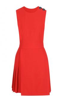 Приталенное мини-платье без рукавов с плиссированной юбкой Alexander McQueen