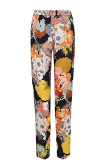 Укороченные брюки с эластичным поясом и цветочным принтом Dries Van Noten