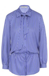 Приталенная блуза в полоску с воротником аскот Balenciaga