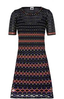 Вязаное мини-платье с контрастным принтом M Missoni