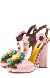 Плетеные босоножки Keira с декором Dolce & Gabbana