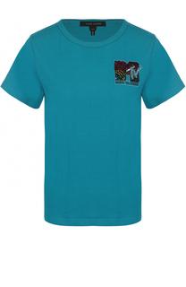 Хлопковая футболка прямого кроя с декоративной отделкой Marc Jacobs