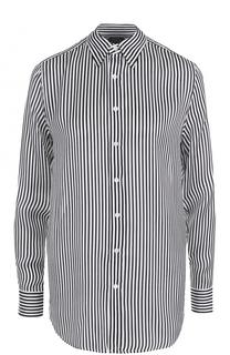 Шелковая блуза прямого кроя в полоску Polo Ralph Lauren