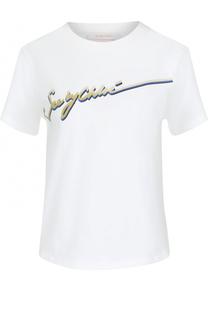 Хлопковая футболка прямого кроя с контрастной надписью See by Chloé