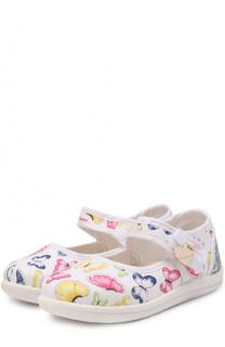 Комбинированные туфли с принтом и застежками велькро Monnalisa