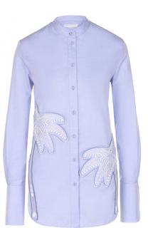 Блуза прямого кроя с воротником-стойкой и декоративной отделкой Victoria by Victoria Beckham
