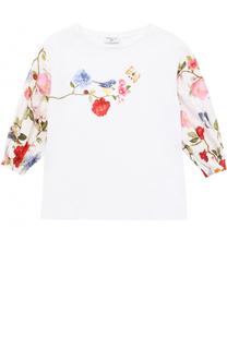 Блуза с принтом и стразами Monnalisa