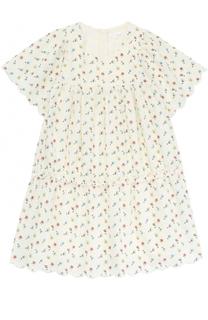 Платье свободного кроя с принтом и перфорацией Chloé