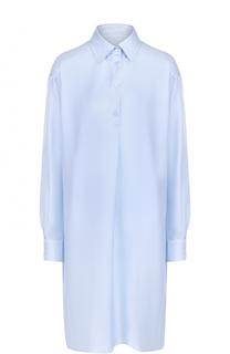Шелковое платье-рубашка с удлиненной спинкой Maison Margiela