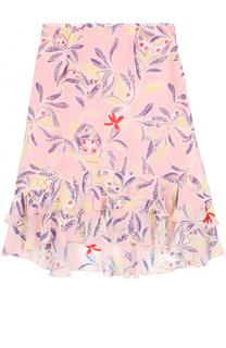 Шелковая юбка с оборками и цветочным принтом See by Chloé