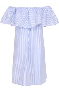 Хлопковое платье с открытыми плечами и оборкой Pietro Brunelli