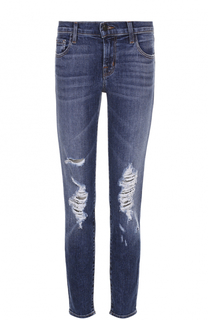Укороченные джинсы-скинни с потертостями J Brand