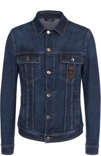 Джинсовая куртка с контрастной прострочкой и вышивкой канителью Dolce & Gabbana