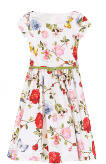 Платье с принтом и лаковым поясом Monnalisa