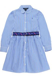 Платье из хлопка с принтом и контрастным поясом Polo Ralph Lauren
