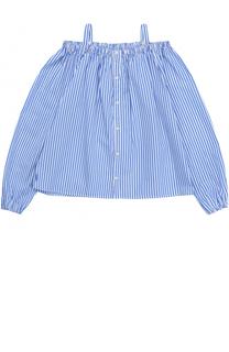 Хлопковая блуза свободного кроя в контрастную полоску с открытыми плечами Polo Ralph Lauren