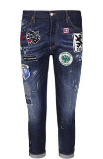 Укороченные джинсы с декоративными потертостями и нашивками Dsquared2