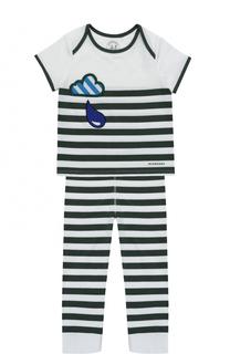 Пижама с принтом и нашивками Burberry