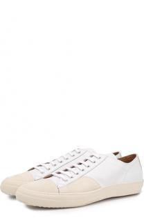Кожаные кеды на шнуровке с замшевой отделкой мыса Dries Van Noten