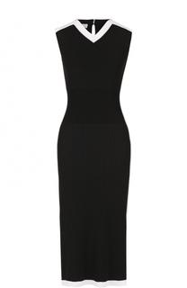 Приталенное платье фактурной вязки с контрастной отделкой Escada Sport
