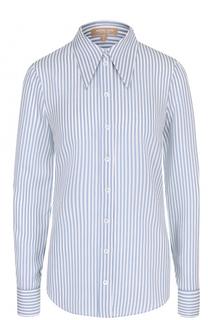 Шелковая блуза прямого кроя в полоску Michael Kors