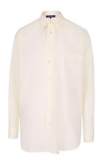 Хлопковая блуза прямого кроя с накладным карманом Ralph Lauren