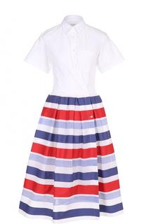 Платье-рубашка с пышной юбкой в контрастную полоску sara roka