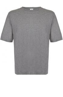 Хлопковая футболка свободного кроя с декоративными потертостями Saint Laurent