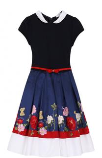 Комбинированное платье с вышивкой и контрастным поясом Monnalisa