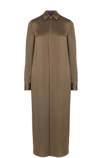Шелковое платье-рубашка с разрезами Ralph Lauren