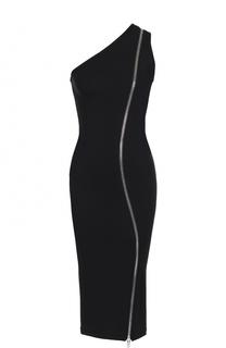 Платье-футляр с декоративной молнией и открытым плечом Givenchy