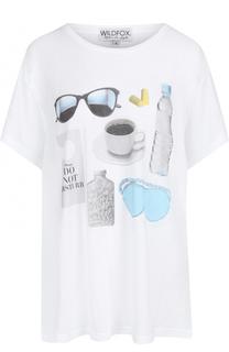 Хлопковая футболка прямого кроя с принтом Wildfox
