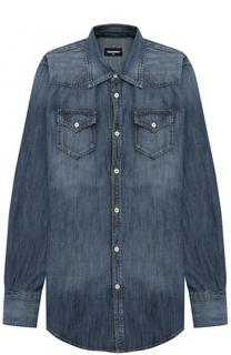 Рубашка из денима с накладными карманами Dsquared2
