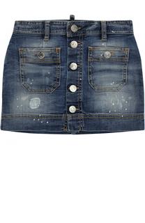 Джинсовая юбка с потертостями и накладными карманами Dsquared2