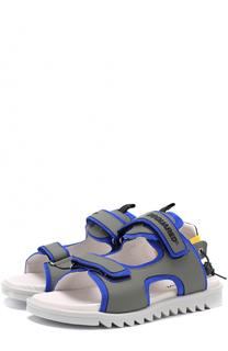 Комбинированные сандалии с застежками велькро и кожаной отделкой Dsquared2