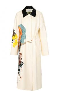 Льняное пальто прямого кроя с цветочным принтом Dries Van Noten
