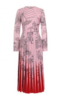 Приталенное платье-миди с плиссированной юбкой Valentino
