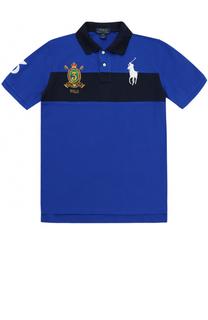 Поло из хлопка с логотипом бренда и контрастной отделкой Polo Ralph Lauren