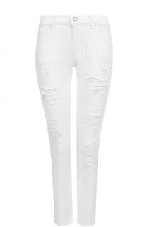 Укороченные джинсы прямого кроя с потертостями и платком Jacob Cohen