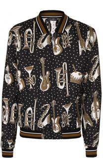 Шелковый бомбер на молнии  спринтом Dolce & Gabbana