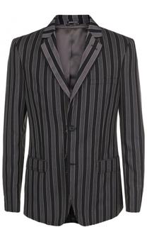 Шерстяной однобортный пиджак в полоску Alexander McQueen
