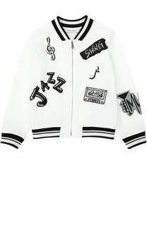 Бомбер на молнии с аппликациями Dolce & Gabbana