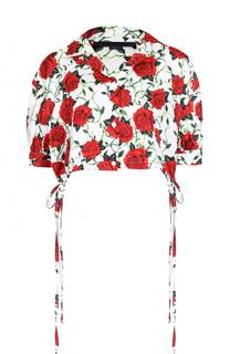 Укороченная шелковая блуза с цветочным принтом Alexander Wang
