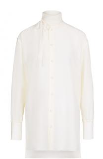 Шелковая блуза прямого кроя с воротником-стойкой Valentino