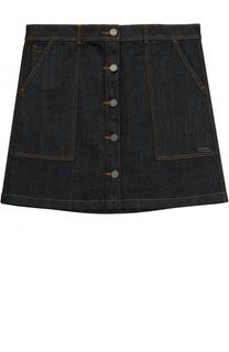 Джинсовая юбка с накладными карманами Burberry