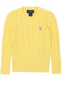 Пуловер фактурной вязки с логотипом бренда Polo Ralph Lauren