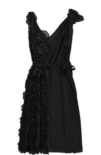 Приталенное платье с плиссировкой и фактурной цветочной отделкой Rochas