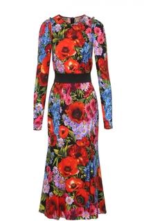 Платье-миди с ярким цветочным принтом и контрастным поясом Dolce & Gabbana