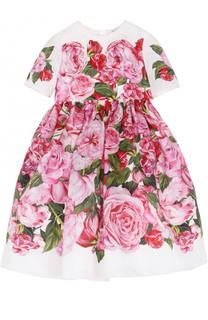 Платье из шелка с принтом Dolce & Gabbana